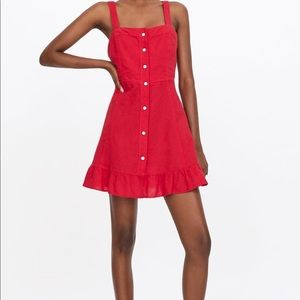 ZARA NEW WOMAN MINI DRESS WITH FRILLS BUTTONED RED